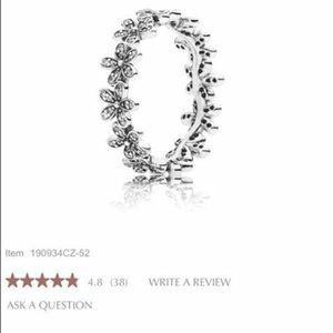 Silver flower pandora ring